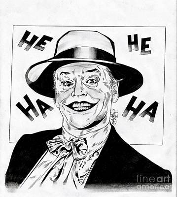Jack Nicholson Drawing - The Original Joker by Ariana Bannister