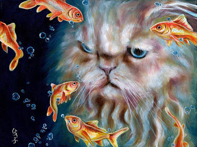 Humorous Cat Painting - The Other Side Of Midnight by Hiroko Sakai