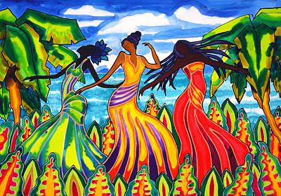 The Other Three Graces Grace Castillo Grace Gonzalez And Grace Lopez Print by Lee Vanderwalker
