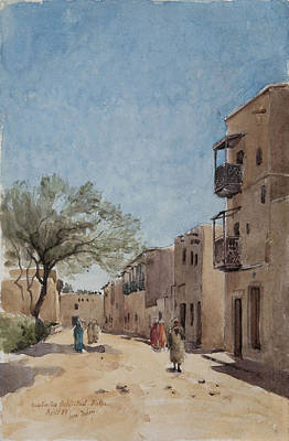 Townscape Painting - The Ouled Nail Quarter, Biskra, April 1889  by Henri Duhem