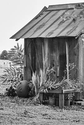 Antique Outhouse Photograph - The Outhouse Bw by Carolyn Marshall