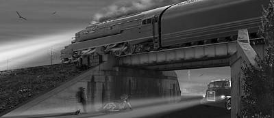 Buzzard Digital Art - The Overpass 2 Panoramic by Mike McGlothlen