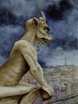 Notre Dame Cathedral Painting - The Overseer by Sam Sidders