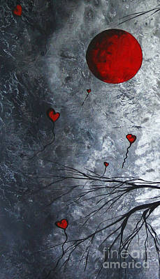Abstract Painting - The Overseers 1 Of 2 Whimsical Crow Moon Heart Painting By Megan Duncanson by Megan Duncanson