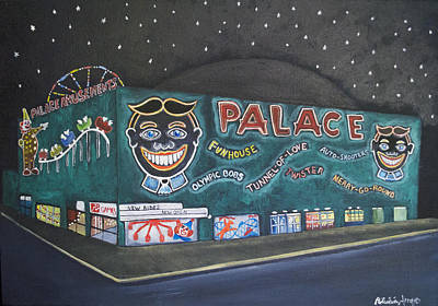 Asbury Park Painting - The Palace At Night by Patricia Arroyo