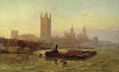 River View Painting - The Palace Of Westminster, 1892  by George Vicat Cole