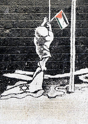 Oppression Painting - The Palestinian Flag by Munir Alawi