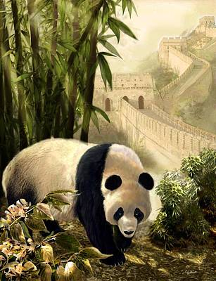 Bamboo Painting - The Panda Bear And The Great Wall Of China by Regina Femrite