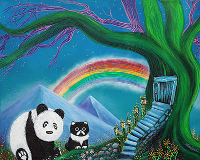 Flowers Painting - The Panda The Cat And The Rainbow by Laura Barbosa