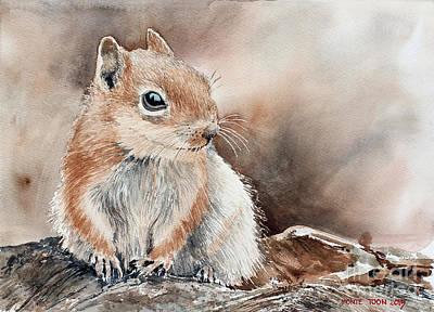 Chipmunk Painting - The Panhandler  by Monte Toon