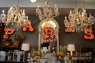 French Signs Photograph - The Paris Market - Savannah Georgia Paris Market - Paris Macaron Shop - Parisian Chandelier Art Shop by Kathy Fornal