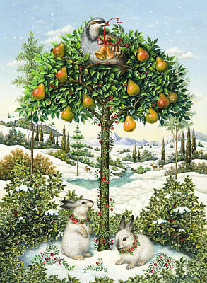 Partridge Painting - The Partridge In A Pear Tree by Lynn Bywaters