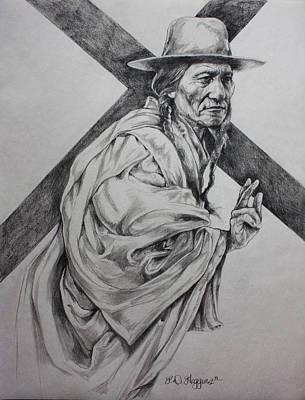 Sioux Drawing - The Passion-sketch by Derrick Higgins