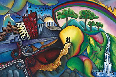 The Path Between City And Country Print by Tiffany Davis-Rustam