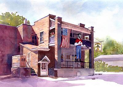 Flags Painting - The Paul Bunyan Hotel by Kris Parins