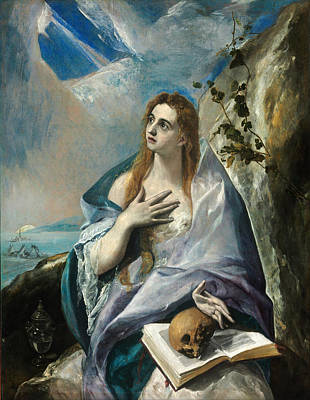 Mary Magdalene Painting - The Penitent Mary Magdalene by El Greco