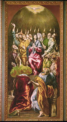 The Pentecost, C.1604-14 Oil On Canvas Print by El Greco