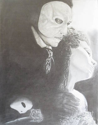Hands Of Love Drawing - The Phantom Of The Opera by Chris Volpe