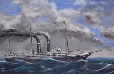 Steam Ships Painting - The Philadelphia by Christopher Jenkins