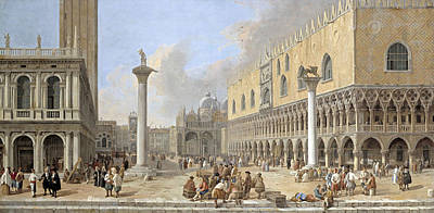 Venice Ca Painting - The Piazzetta At Venice by Luca Carlevarijs