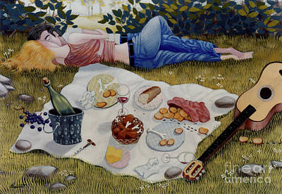 Romance Painting - The Picnic 1995 by Larry Preston
