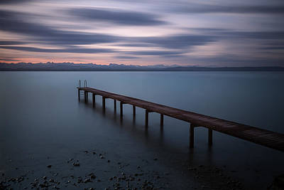 Lake Photograph - The Pier Before Sunrise  by Dominique Dubied