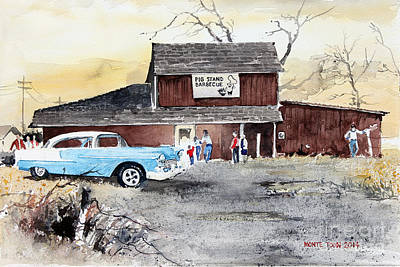 Bbq Painting - The Pig Stand by Monte Toon