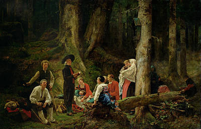 The Pilgrims From The Abbey Of St. Odile Oil On Canvas Print by Gustave Brion