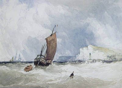 Fecamp Painting - The Pilot Boat Off Fecamp, Normandy by Charles Bentley