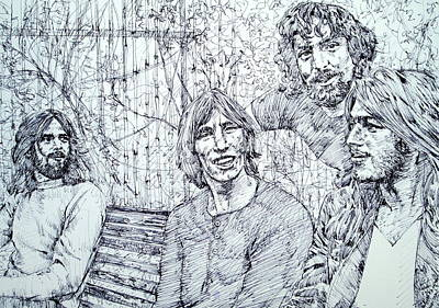 Stage Lights Drawing - the PINK FLOYD  - drawing portrait by Fabrizio Cassetta