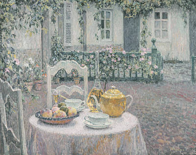 Tea Painting - The Pink Tablecloth by Henri Eugene Augustin Le Sidaner