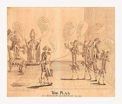 Benjamin Franklin Drawing - The Plan, Or A Scene In The French Cabinet by English School