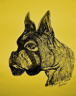 Boxer Dog Art Drawing - The Playful Guardian by Maria Urso