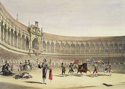 Bullfighter Drawing - The Plaza Of Seville, 1865 by William Henry Lake Price