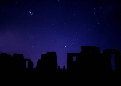 The Pleiades Over Stonehenge Print by Laurie Larson