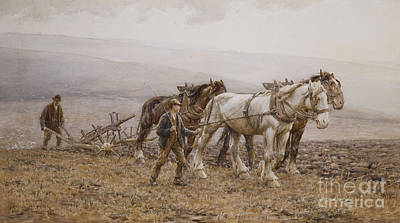 Fog Painting - The Ploughman Wilmington Polegate Near Eastbourne by Joseph Harold Swanwick