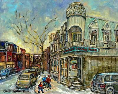 The Point Hockey Game Connie's Pizza Winter Scene Paintings Montreal Art Carole Spandau Print by Carole Spandau