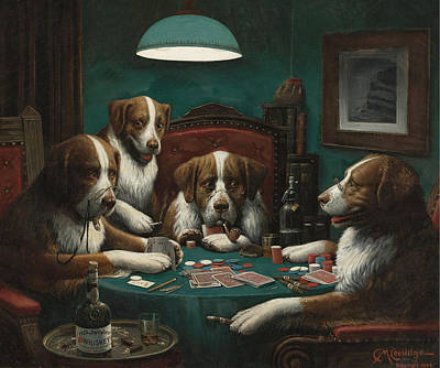 Marcelli Painting - The Poker Game by Cassius Marcellus Coolidge