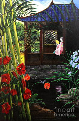 Bamboo House Painting - The Pond Garden by D L Gerring