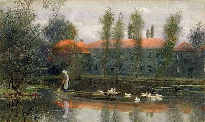 Collier Drawing - The Pond Of William Morris Works by Lexden L. Pocock