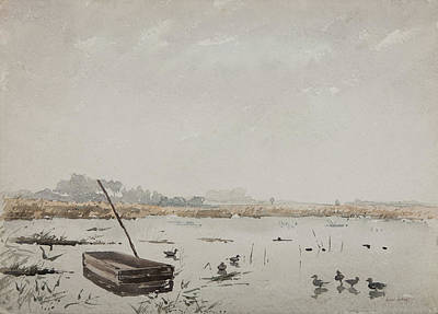 Duck Drawing - The Pond  by Henri Duhem