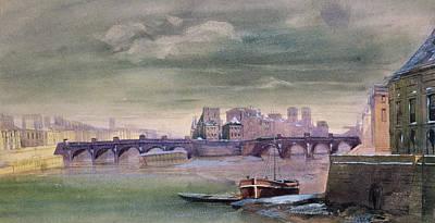 The Pont-neuf And The Ile De La Cite Print by Henri Jean-Baptiste Levis