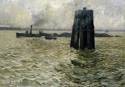 Fog Painting - The Port Of Hamburg by Leopold Karl Walter von Kalckreuth