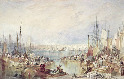 Port Drawing - The Port Of London by Joseph Mallord William Turner