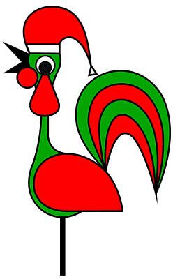 Digital Art - The Portoguise Rooster Son Of Santa Claus Wishes You A Happy Chrismas by Asbjorn Lonvig