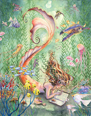 Mermaid Painting - The Prayer by Sara Burrier