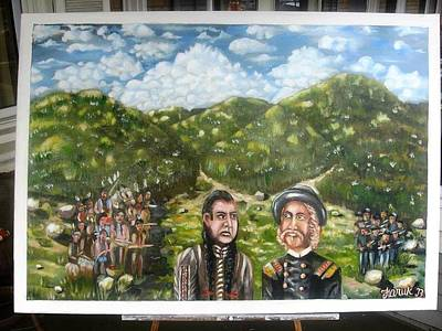 The Pre-last Stand-sitting Bull And Gen. Custer Council Original by Faruk Bhuiyan