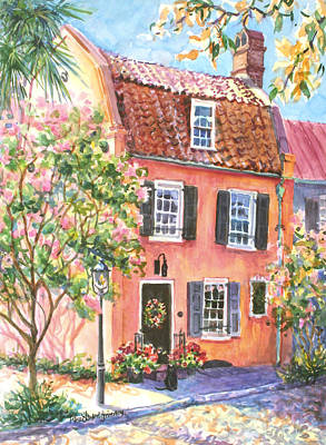 Charleston Houses Painting - The Precious Pink House by Alice Grimsley