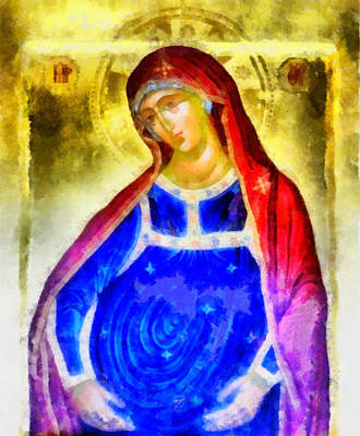 Byzantine Greek Icon Painting - The Pregnant Lady by George Rossidis