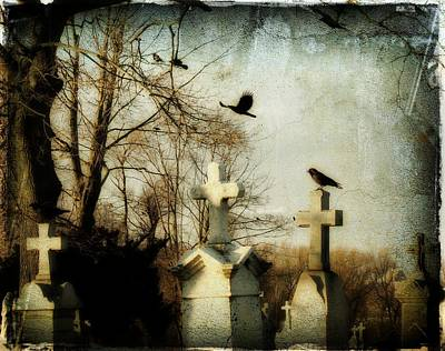 Ravens In Graveyard Photograph - The Prelude by Gothicrow Images
